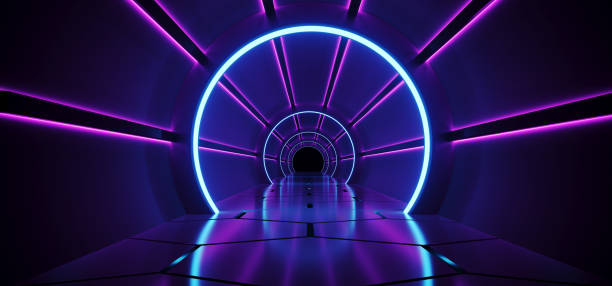 Sci-Fi Futuristic Abstract Gradient Blue Purple Pink Neon Glowing Circle Round Corridor On Reflection Concrete Floor Dark Interior Room Empty Space Spaceship Technology Concept 3D Rendering stock photo