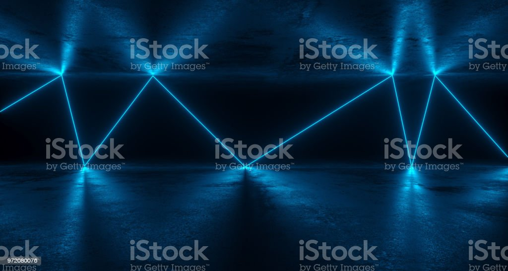 Scifi Futuristic Grunge Room With Chaotic Reflected Blue