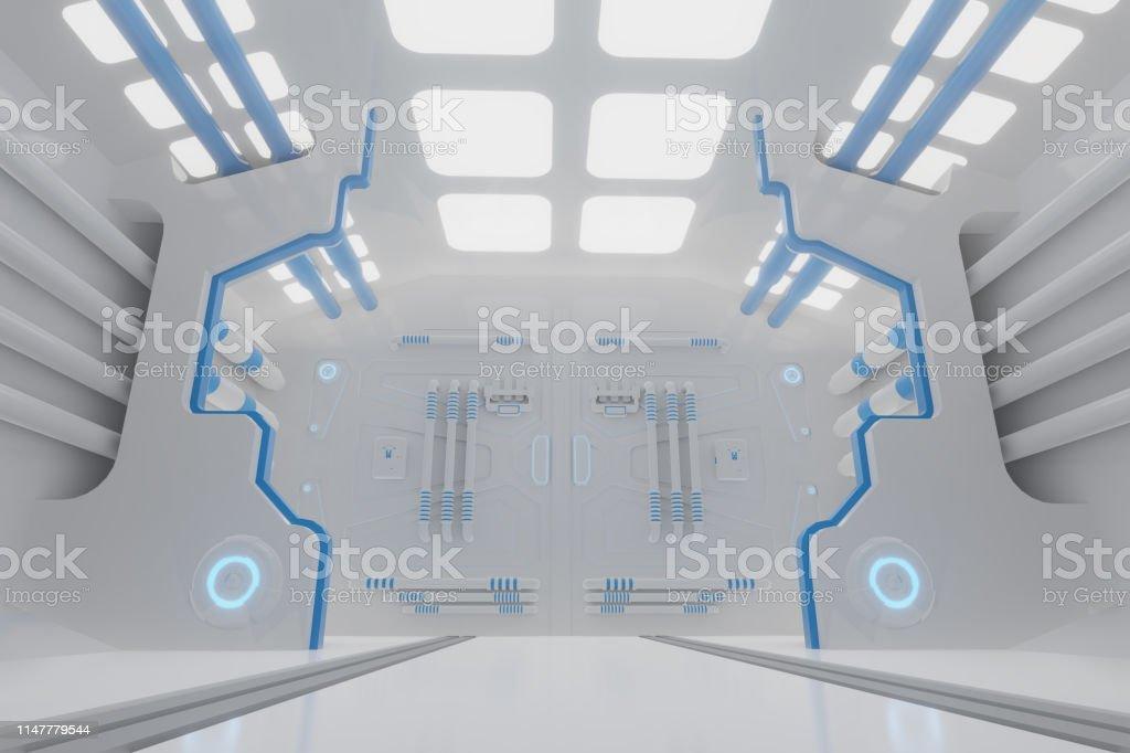 Scifi Grunge Damaged Metallic Corridor Background Illuminated With Neon  Lights 3d Render Illustration Stock Photo - Download Image Now