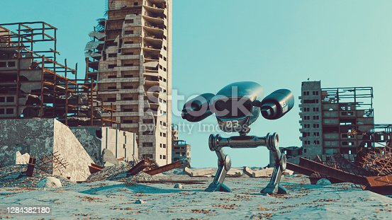 Concept of future war and disasters. A robot with two legs and gun turrets walks the street of a city which has been destroyed. Either by war og natural disaster.