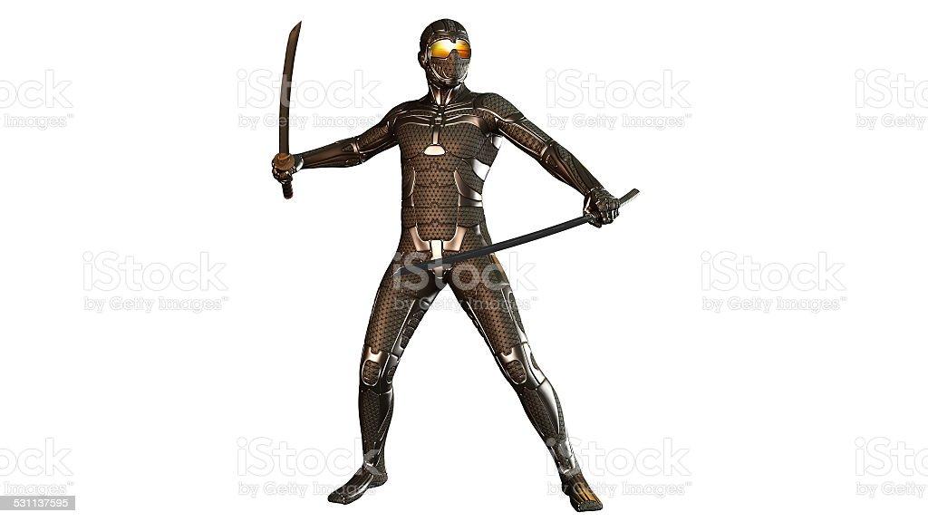 Sci-Fi Ninja warrior with swords in armor stock photo