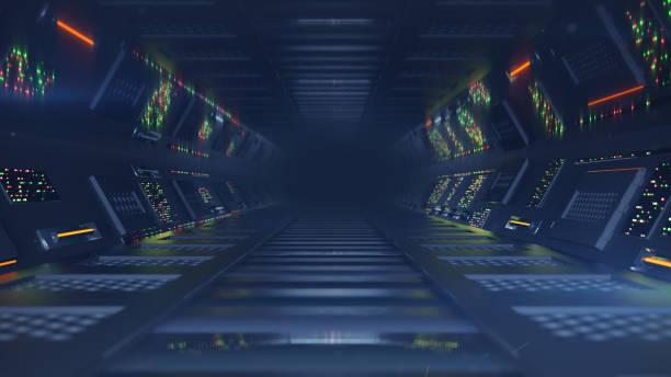 sci-fi-passage mit bedienfelder 3d-render-illustration - arkade stock-fotos und bilder
