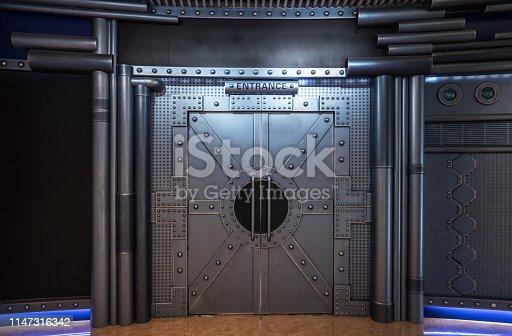 istock Sci-fi Scenes, Open metal hatch 1147316342