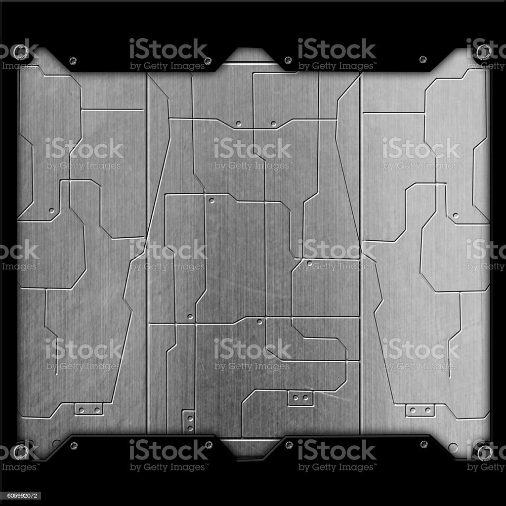 Scifi Wall Chrome Metal And Circuits Background Stock Circuit Diagram Of Royalty Free Photo
