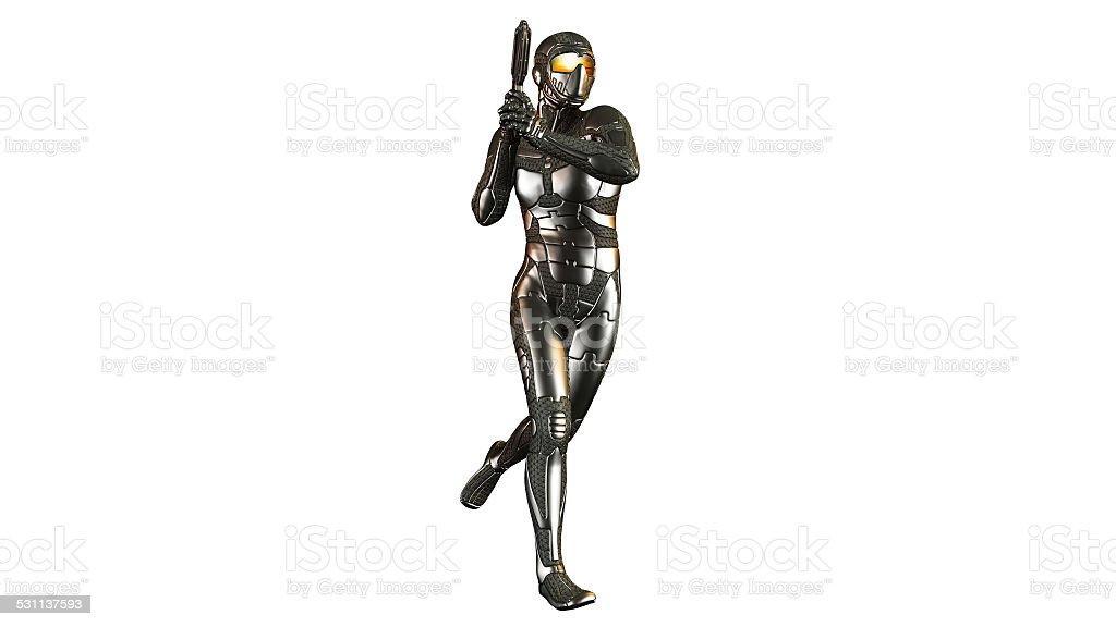 Sci-Fi warrior in armor with a gun stock photo