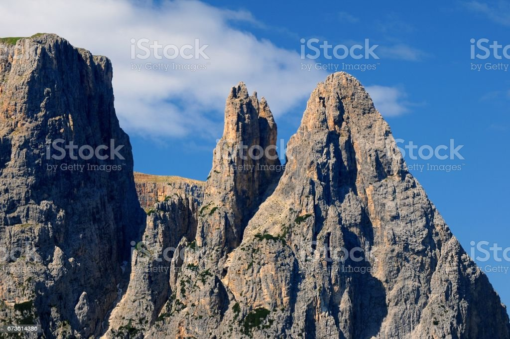 Sciliar/Schlern, as seen from Alpe di Siusi, Seiser Alm, Dolomites, Trentino, Bolzano, Alto-Adige, South Tyrol, Italy. stock photo