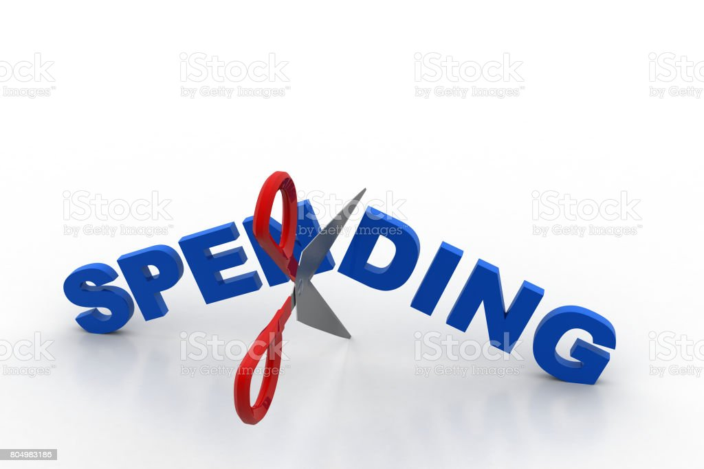 Scissor cut the word spending stock photo