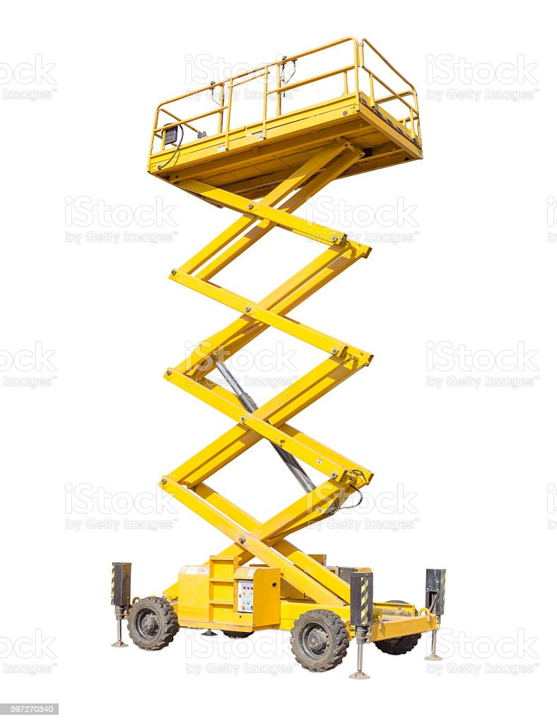 Scissor self propelled lift on a light background stock photo