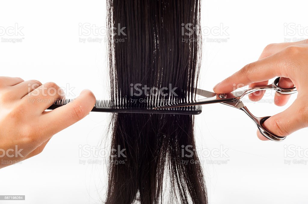 scissors and hair stock photo