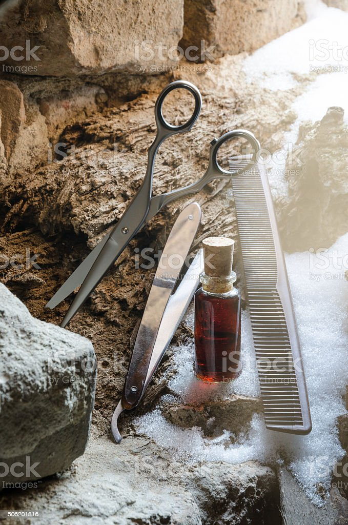 Scissors comb and razor vintage look stock photo