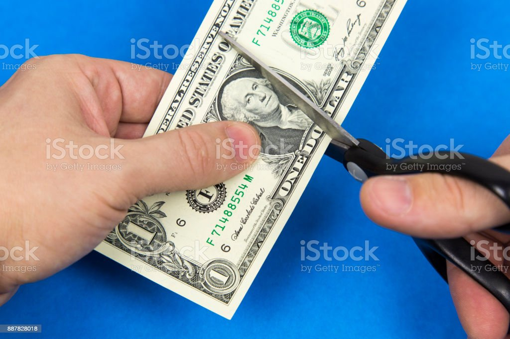 Scissors cut a dollar. stock photo