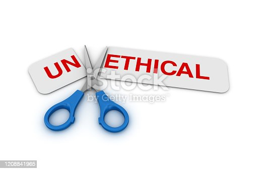 824305956 istock photo Scissors Cutting a Paper with UNETHICAL / ETHICAL Words - 3D Rendering 1208841965
