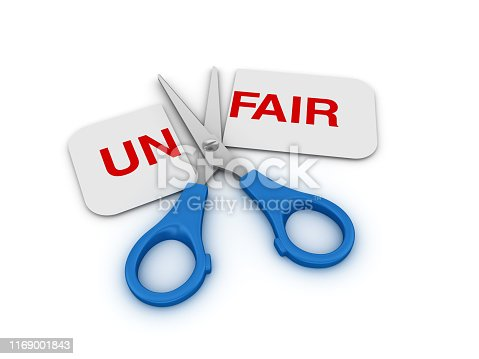 Scissors Cutting a Paper with UNFAIR Word - White Background - 3D Rendering