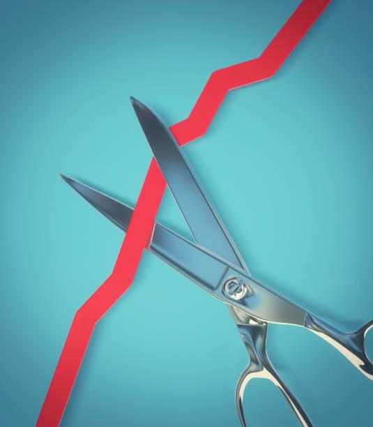 Scissors cutting a rising line graph - 3d illustration stock photo
