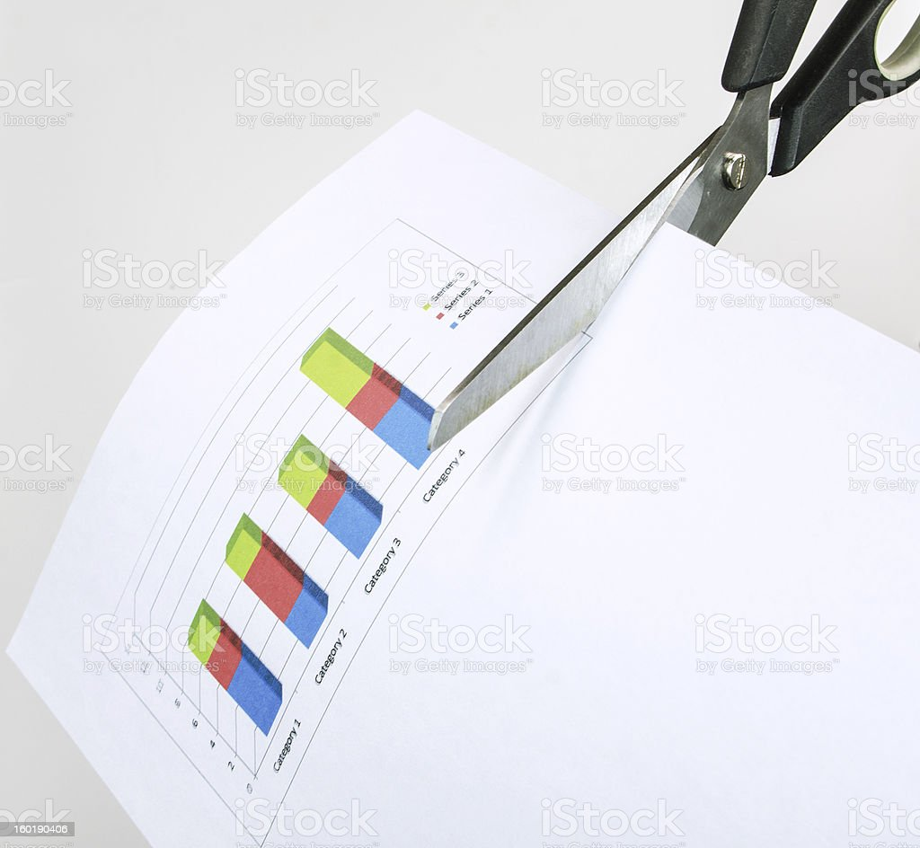 Scissors Cutting Graph Paper royalty-free stock photo