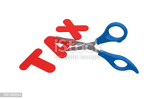 istock Scissors Cutting Tax Word - 3D Rendering 1051355544
