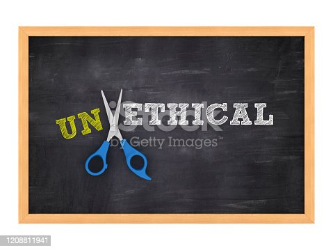 824305956 istock photo Scissors Cutting UNETHICAL / ETHICAL words on Chalkboard - 3D Rendering 1208811941