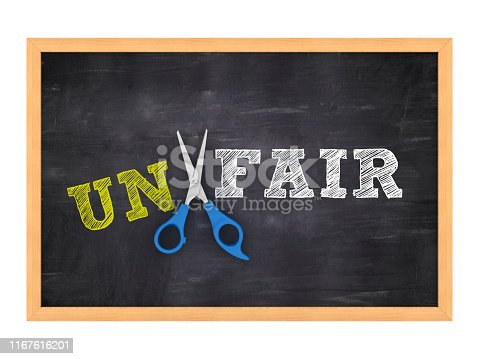 Scissors Cutting UNFAIR word on Chalkboard - 3D Rendering