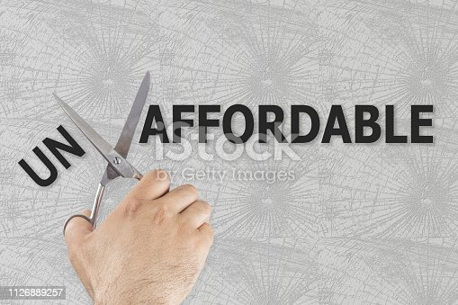 Scissors cutting word Affordable from Unaffordable. Conceptual photo