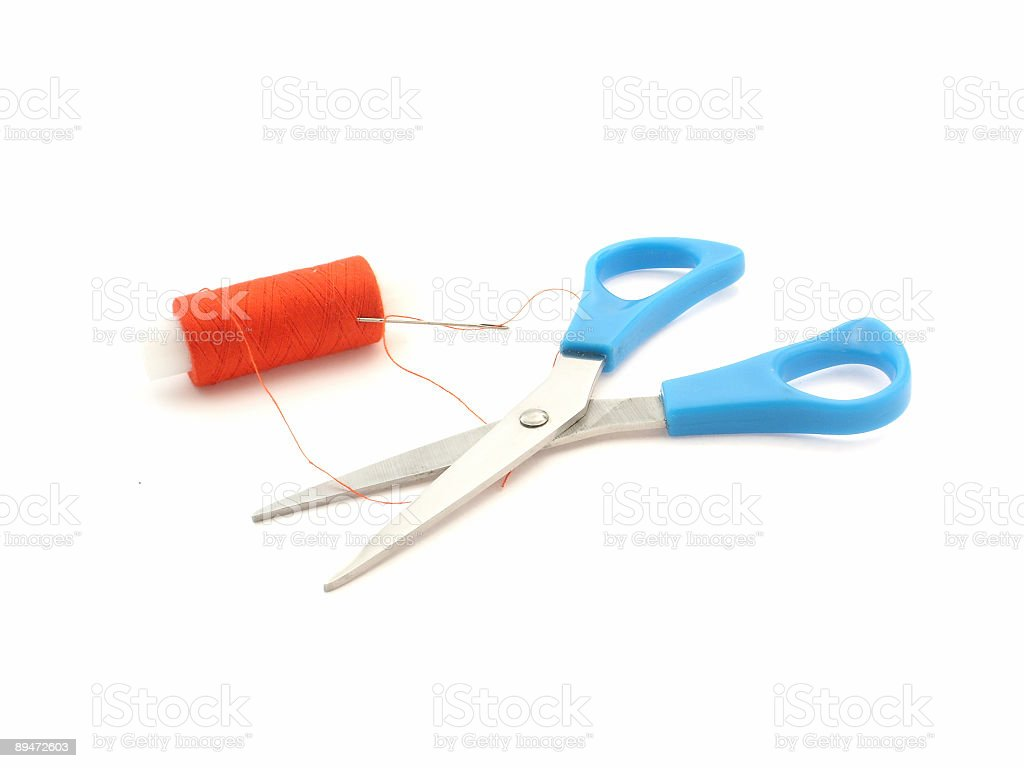 scissors, needle and thread royalty-free stock photo