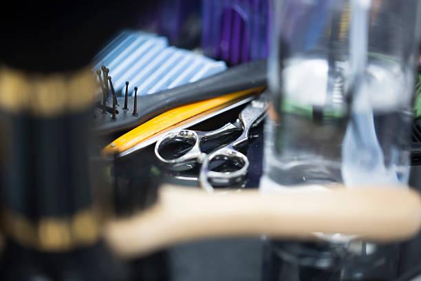 Scissors Razor and Comb stock photo