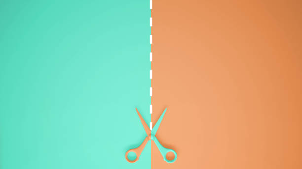 Scissors with cut lines on pastel turquoise and orange colored background with copy space, template mockup concept idea Scissors with cut lines on pastel turquoise and orange colored background with copy space, template mockup concept idea apart stock pictures, royalty-free photos & images