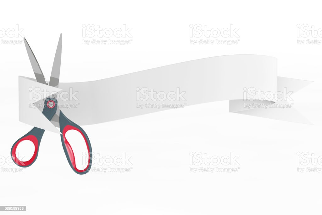 Scissors with Ribbon Banner. 3d Rendering stock photo