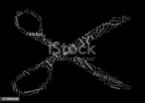istock scissors word cloud with haircut related words in a lot of different languages 875896490