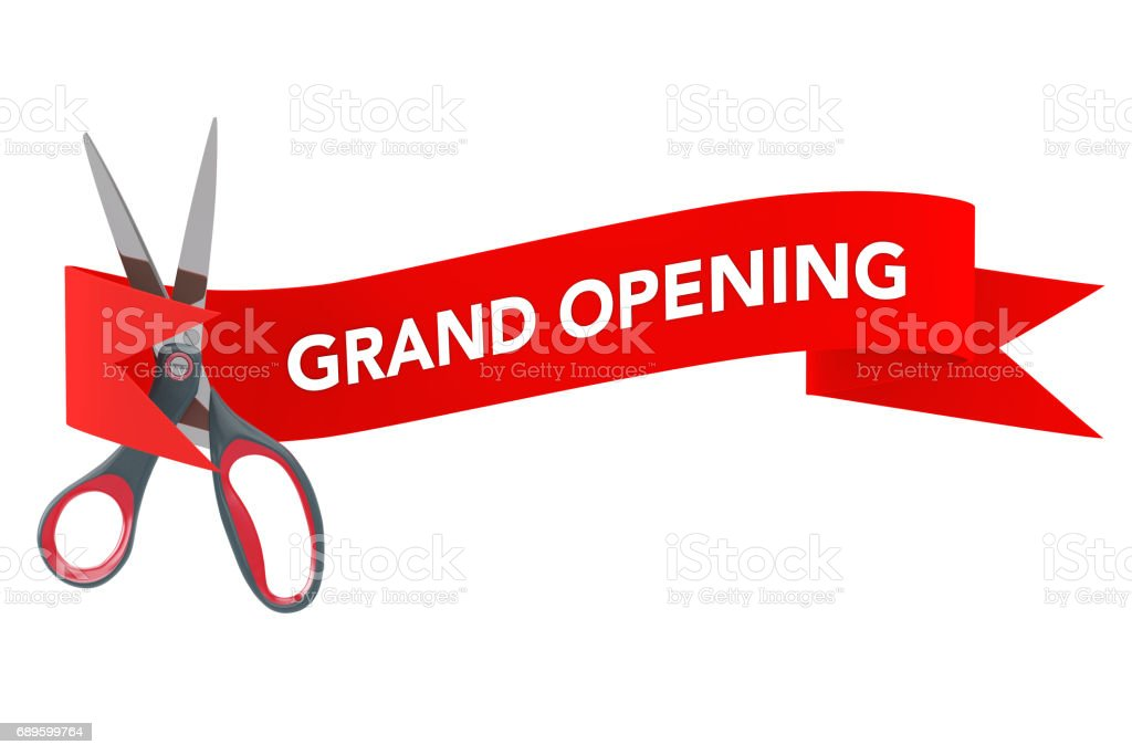 Scissorsin front of Red Ribbon with Grand Opening Sign. 3d Rendering stock photo