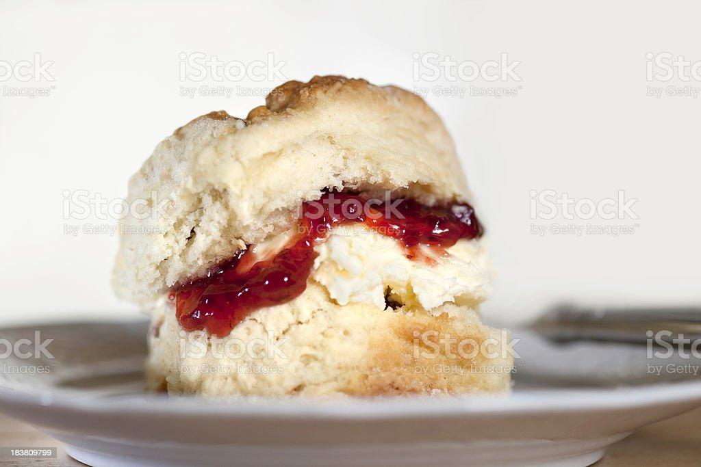 Scone, cream and jam stock photo
