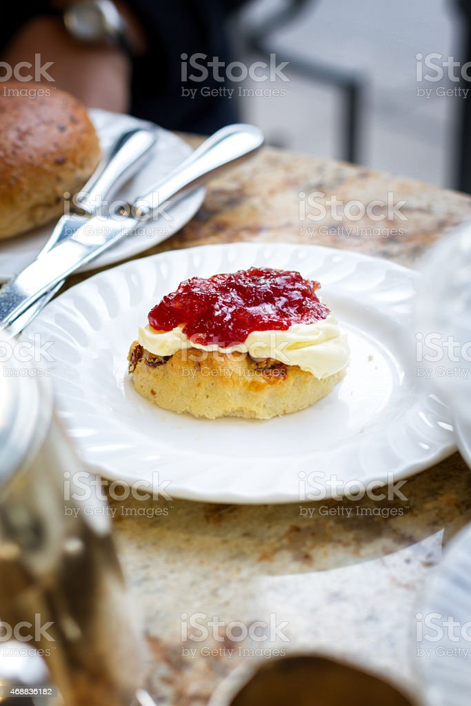 Scone Jam And Clotted Cream For High Tea In England Stock Photo Download Image Now Istock