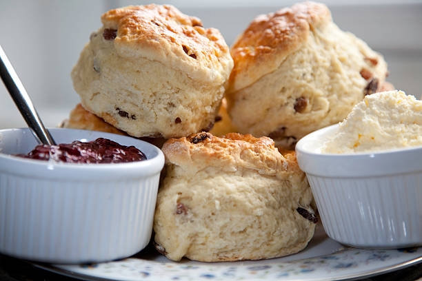 scones, cream and jam - scone bildbanksfoton och bilder