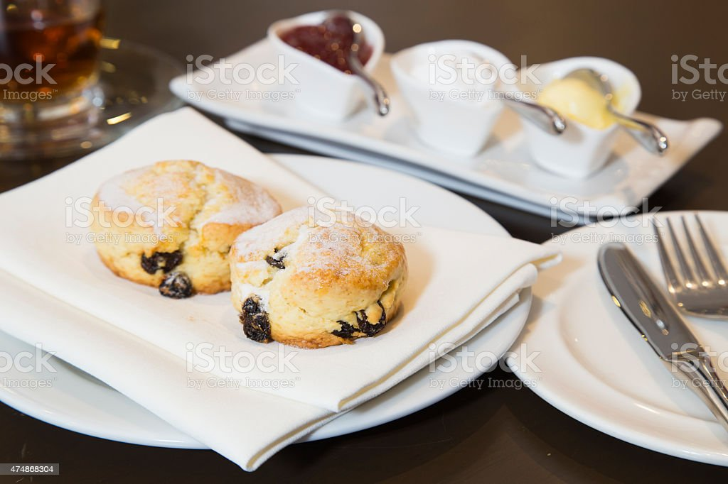 Scones Jam Clotted Cream stock photo
