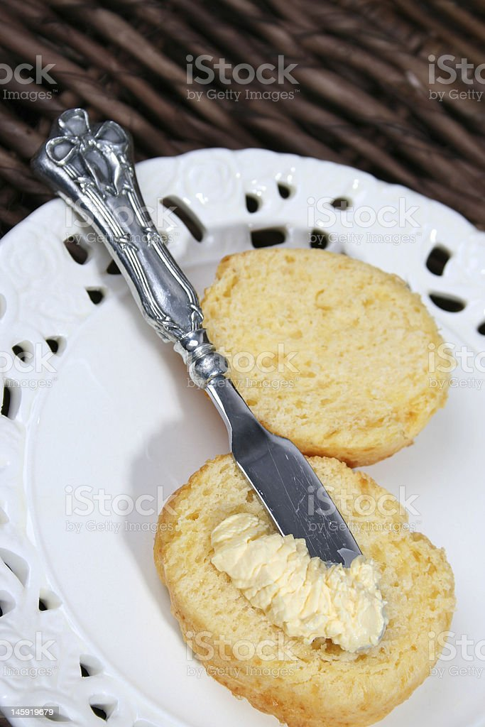Scones with butter knife stock photo
