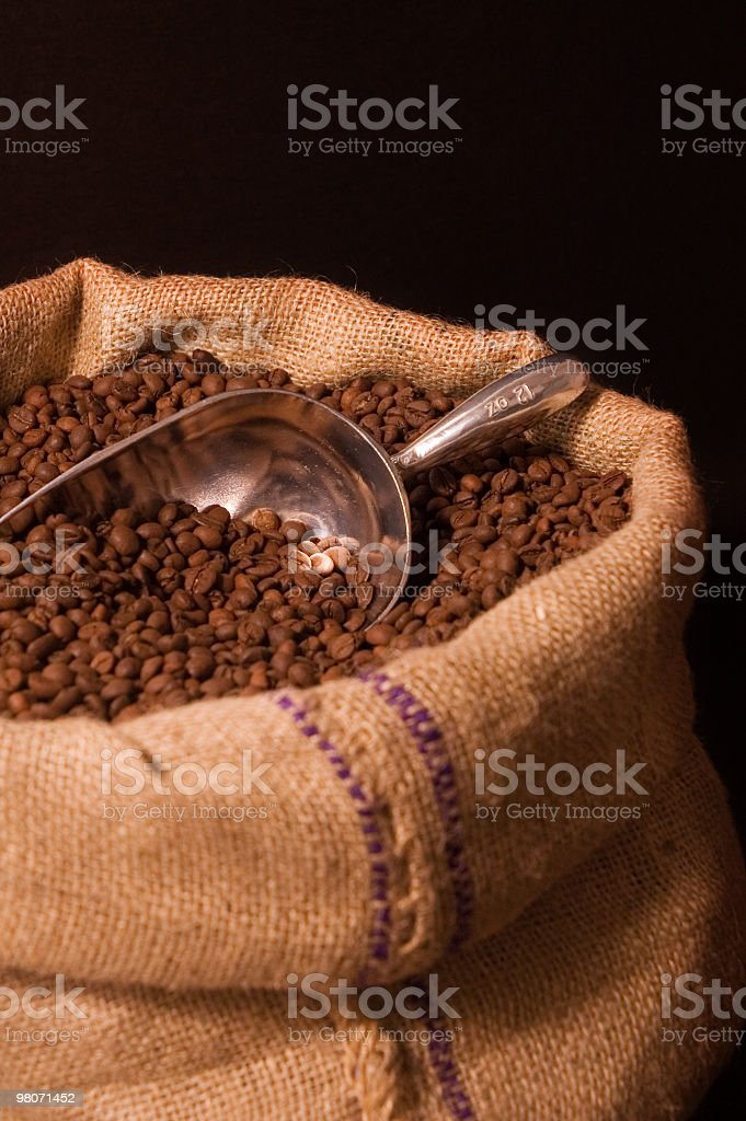 Scoop of coffee beans in an open burlap sack royalty-free stock photo