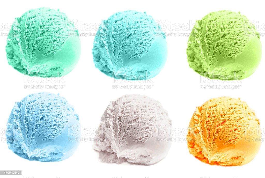 Scoop of ice cream isolated  on white background. stock photo
