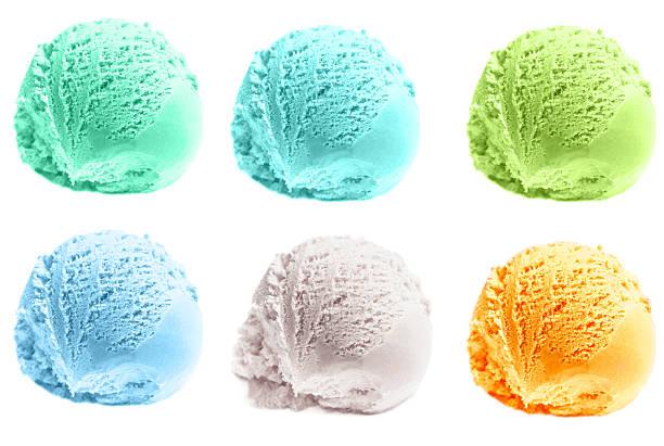 Scoop of ice cream isolated  on white background. stock photo