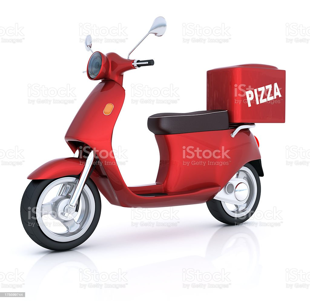 Scooter for pizza delivery stock photo