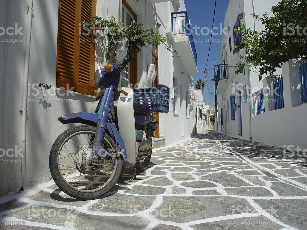 Scooter in Greek Street royalty-free stock photo