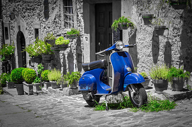 Scooter in Tuscany stock photo