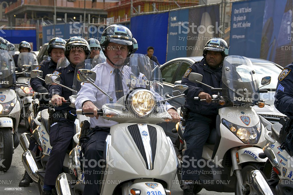 NYPD Scooter officers leave 'Occupy Wall Street' protest site. stock photo