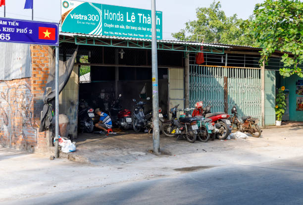 Scooter workshop in Nam Tien, Vietnam on February 15, 2018 stock photo