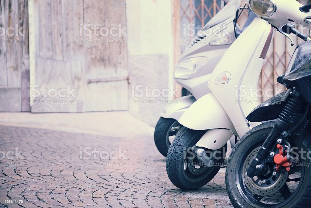 Scooters in Old Italian Street royalty-free stock photo