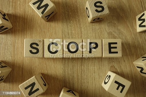 istock Scope word from wooden blocks 1134865074