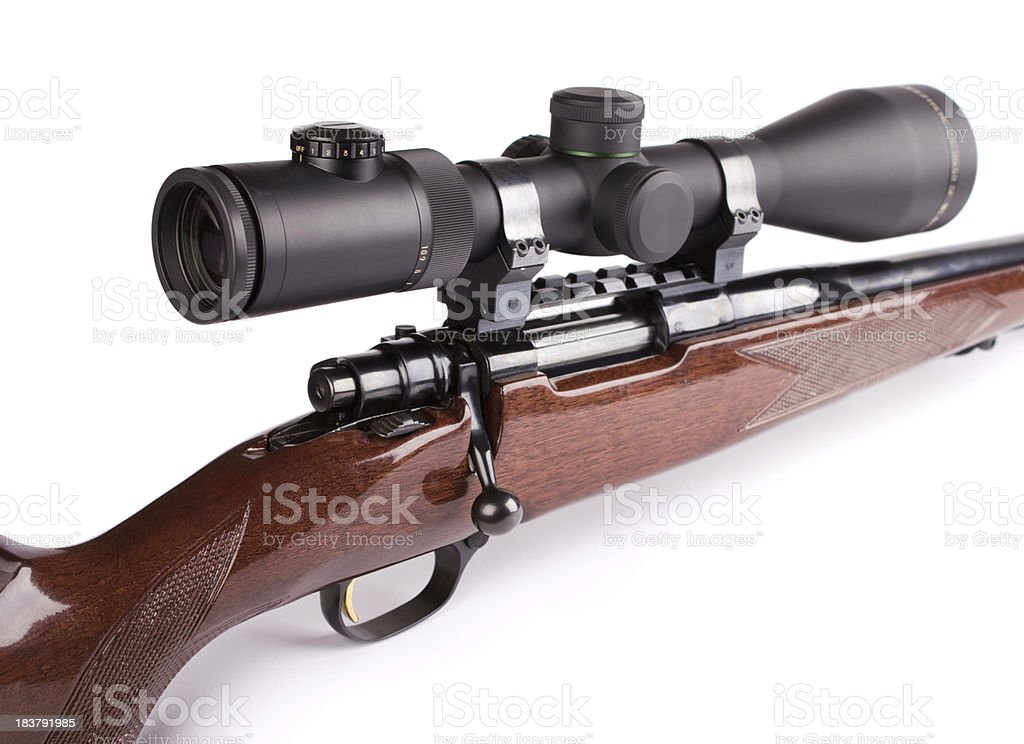 Scoped rifle stock photo