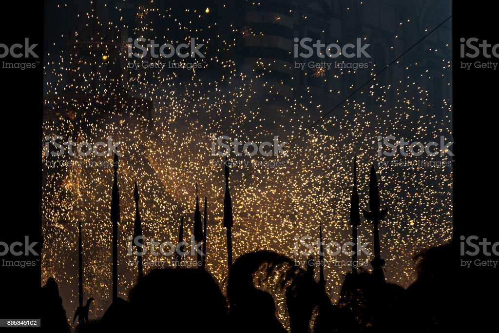 Scoppio del Carro ('Explosion of the Cart'), folk tradition of Florence, Italy stock photo