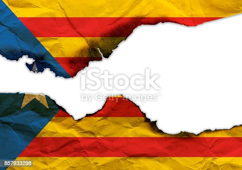 istock Scorched flag of Catalonia isolated on white background, concept picture about political situation in Spain 857933298
