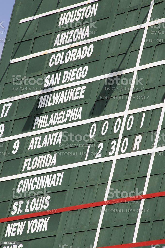 A baseball scoreboard abstract.