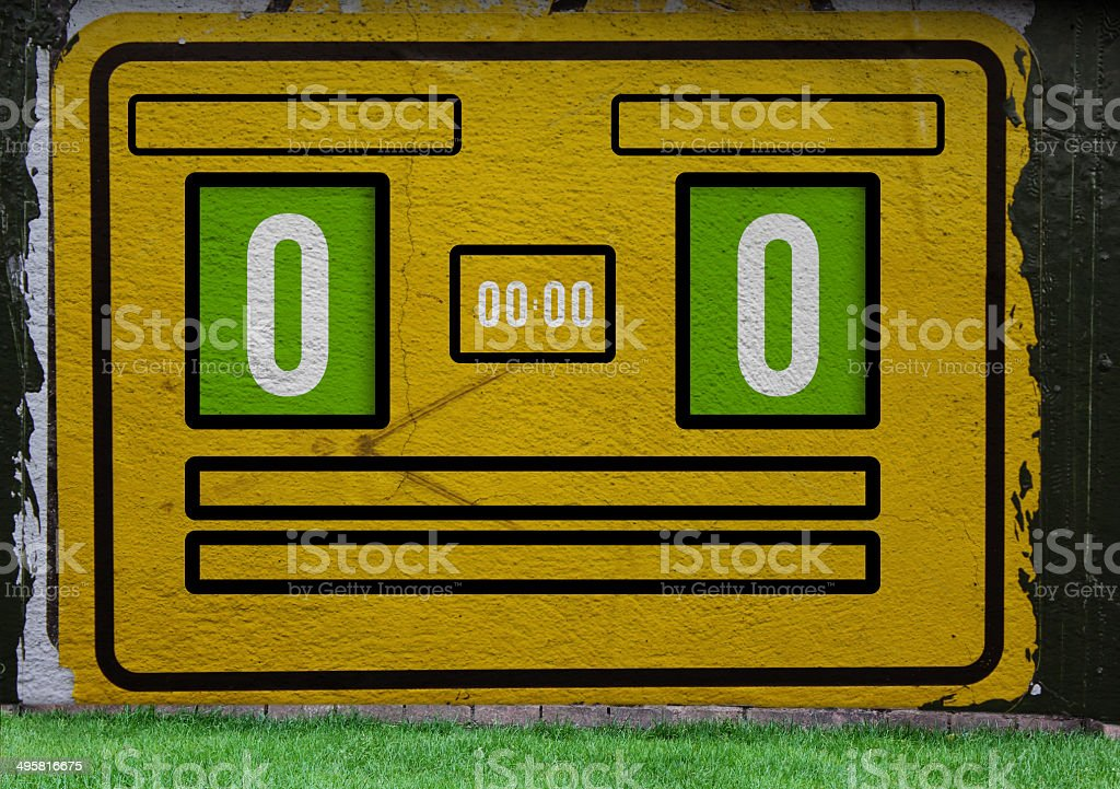 Scoreboard over yellow painted background with grass