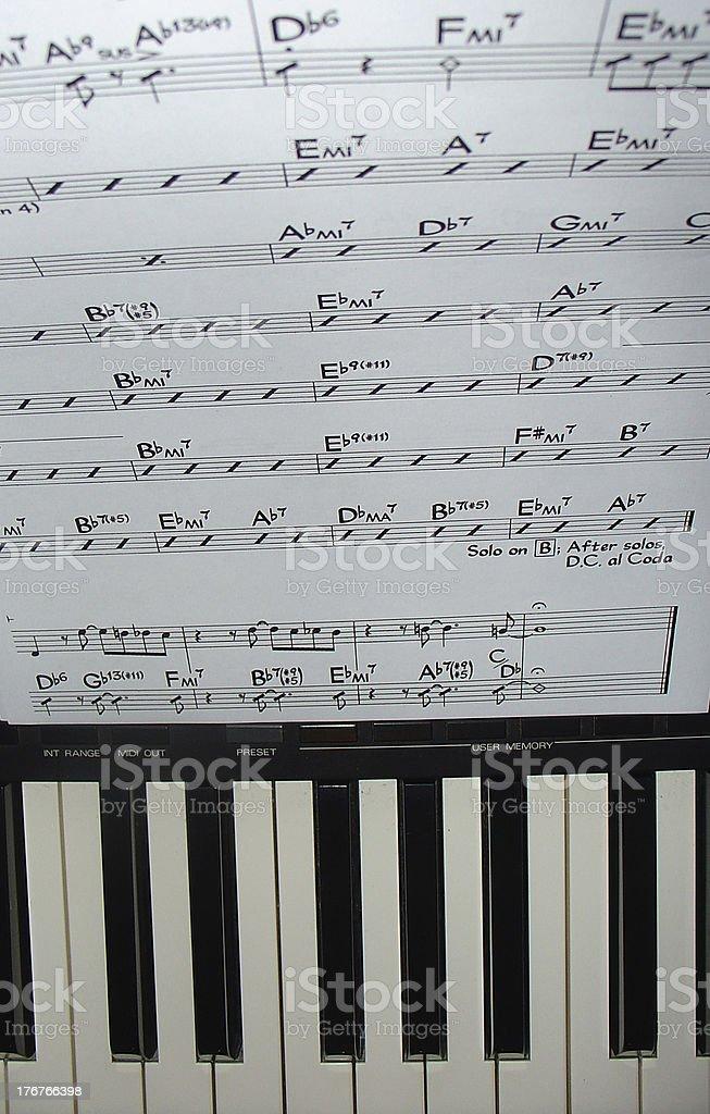 Score with keyboard stock photo